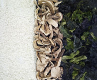 Rice, mushrooms and seaweed Royalty Free Stock Images
