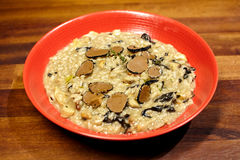 Rice with mushrooms and truffle. stock photos