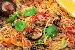 Rice with mushrooms and vegetables stock image