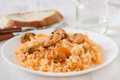 Rice with mussels Stock Photo