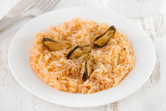 Rice with mussels on plate Royalty Free Stock Photos