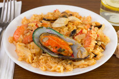 Rice with mussels and shrimps Stock Image