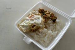 Rice nakrywał z smażącym basilem i kurczakiem fotografia royalty free