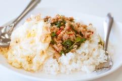 Rice nakrywał z smażącym wieprzowiny i basilu ochraniacza krapaw kaida także Fotografia Royalty Free