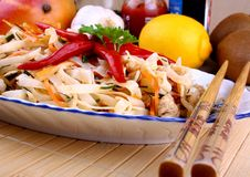Rice noodle with chicken meat and chili star Royalty Free Stock Images