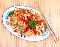 Rice noodle with chicken meat and chili star Stock Photo
