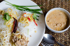 Rice noodle in coconut milk sauce( MEE KATI) Royalty Free Stock Photo