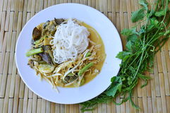 Rice noodle with fish curry sauce and fresh vegetable Royalty Free Stock Image