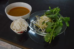 Rice noodle with fish curry Stock Photo