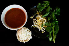 Rice noodle with fish curry Royalty Free Stock Image
