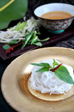 Rice Noodle in Golden Plate Stock Images