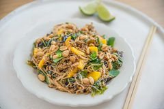 Rice Noodle Salad with mango stock image