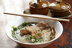 Rice noodle soup with stewed chicken and chinese herbs Royalty Free Stock Images