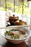 Rice noodle soup with stewed chicken and chinese herbs Royalty Free Stock Photography