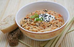 Rice noodles. Fresh greg rice noodles in a bowl royalty free stock photo