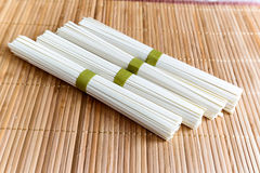Rice noodles on bamboo napkin Stock Image