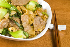 Rice Noodles and Beef Stir Fry Stock Photography