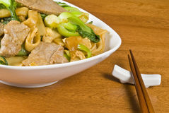 Rice Noodles and Beef Stir Fry Stock Image
