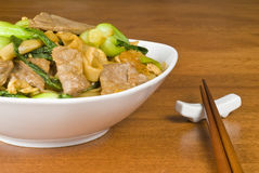 Rice Noodles and Beef Stir Fry Stock Photos