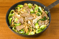 Rice Noodles and Beef Stir Fry Royalty Free Stock Photo