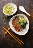 Rice noodles bowl with Peking Duck Stock Photos