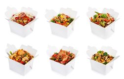 Rice and noodles in boxes. Isolated on white background. Collage royalty free stock image