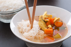Rice Noodles Chicken Soup Stock Photos