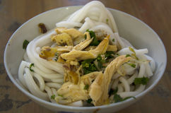 Rice noodles with chicken Stock Images