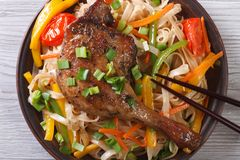 Rice noodles with duck leg closeup, horizontal, top view Stock Photography