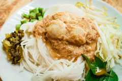 Rice noodles in fish curry sauce (Kanom Jeen Nam Ya). Royalty Free Stock Photos