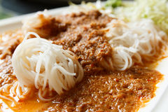 Rice noodles in fish curry sauce Stock Photography