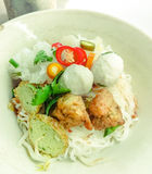 Rice Noodles with Fish and shrimp Balls Stock Images