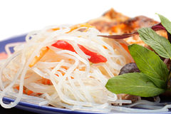 Rice noodles with greens Stock Image