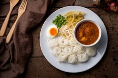 Free Rice Noodles In Fish Curry Sauce With Meatball And Vegetable Kanom Jeen Nam Ya.Top View Royalty Free Stock Photo - 200801545