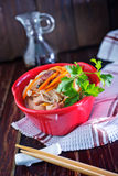 Rice noodles with meat Stock Photography