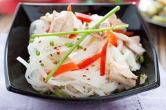 Rice noodles with peppers and tuna Stock Images