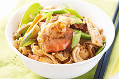 Rice noodles with prawns. And vegetable Stock Image