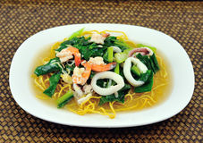 Rice Noodles sea food and Vegetables Stock Image