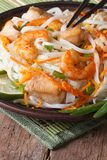 Rice noodles with seafood and chicken closeup. Vertical Stock Photography