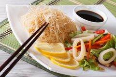 Rice noodles and seafood salad close-up horizontal Stock Photo