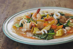 Rice noodles with seafood Stock Photo