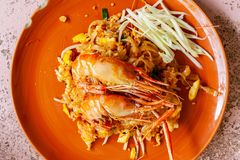 Rice noodles with shrimps river royalty free stock photos