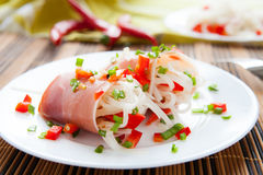 Rice noodles and slices of ham Stock Image