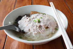 Rice noodles soup with pork. Rice noodles soup with vegetables and pork stock photography