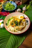 Rice noodles with spicy fish sauce. Thai food Royalty Free Stock Photography