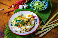 Rice noodles with spicy fish sauce. Thai food Royalty Free Stock Image
