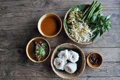 Rice Noodles with spicy pork sauce. Rice Noodles with Fish Jungle Curry Sauce and spicy pork sauce, northern food of thailand Royalty Free Stock Photo