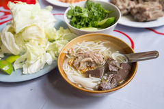 Rice noodles with spicy pork sauce or Khanom Jin Nam Ngiao Stock Image