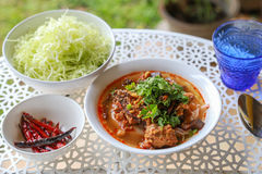 Rice noodles with spicy pork sauce. Thai food Stock Photos