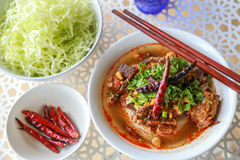 Rice noodles with spicy pork sauce. Thai food Stock Photography